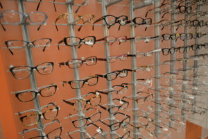 Optical shop eye glasses wall